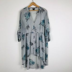 Torrid sz 2 High Low Sheer Floral Dress Tunic